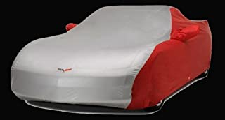 Designer Mat Two Tone C6 Embroidered Logo Car Cover for 2005-2013 Corvette models (Red/Silver)