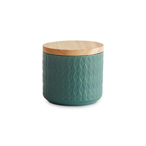 Keramik Vorratsdosen mit Holzdeckel Mint, Kautschukholz-Deckel, Aufbewahrungsdosen, Frischhaltedosen - 1x Dunkelgrün: 10x9cm