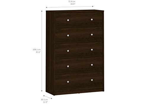 Tvilum Portland 5 Drawer Chest, Coffee