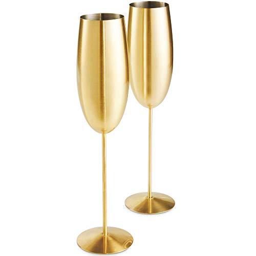 VonShef Cocktail Bril Set van 2, Koper & Goud, Wijnglazen/Moscow Mule/Tall/Highball/Martini/Flute/Stemless Stijl met Geschenkdoos Set of 2, Champagne Flute Goud