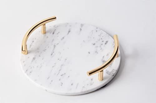 Marble Round - Bandeja para utensilios de baño, 25 cm, color blanco