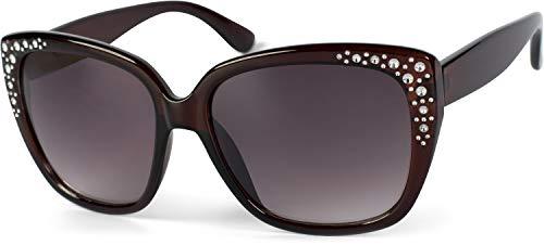 styleBREAKER Damen Sonnenbrille in Katzenaugen Schmetterling Form mit Strass, Cat-Eye 09020110, Farbe:Gestell Braun / Glas Braun Verlaufsglas
