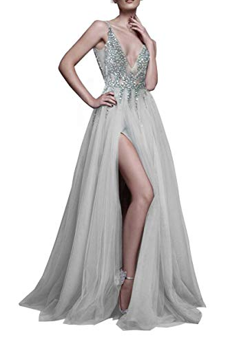 Sexy Gray Prom Dresses with Deep V Neck Sequins Tulle and Lace Sex High Split Long Evening Dress Party Dresses Grey-US2