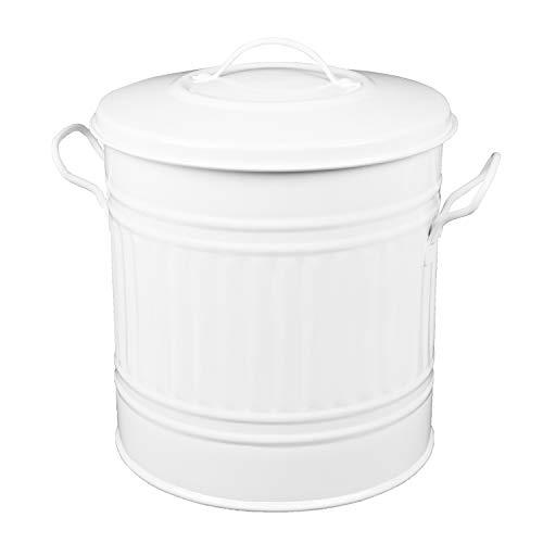 HRB Mülleimer Zink Weiß, 15 Liter, Vintage Design, sehr stabil mit Deckel- geeignet als Mülleimer Küche- Nutzbar als Abfalleimer oder zur Aufbewahrung von Klamotten