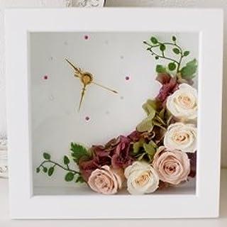 【Eclaire Flower Design】プリザーブドフラワー 壁掛け フラワー時計 ホワイトピンク/ヌードピンク