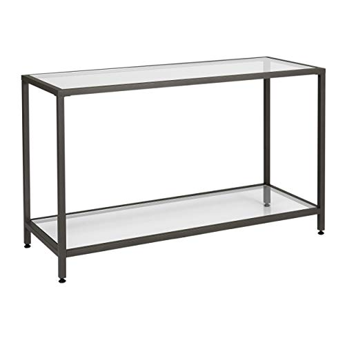 Studio Designs Home .0 Camber Console Table In Pewter With Clear Glass