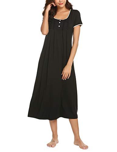 Hotouch Damen Lange nachtgowns Schlaf Kleider Nachthemd Victorian Nacht wear groß x-schwarz