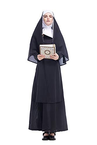 cultofmoon Costume da Suora delle Donne Pastore Cosplay Pastore Missionario di Gesu Cristo Costume di Carnevale di Halloween, XL