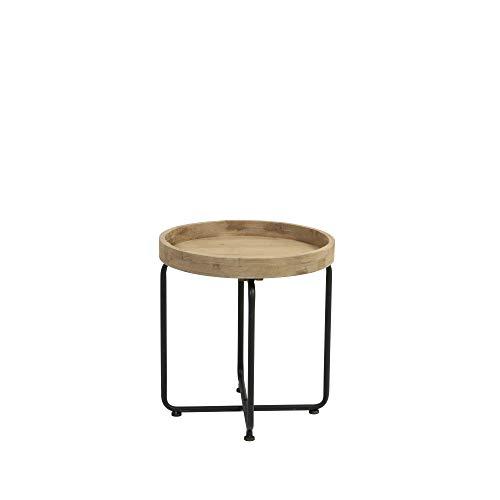 Light & Living Design bijzettafel Ø44,5 x 43 cm TIKAL zwart + hout
