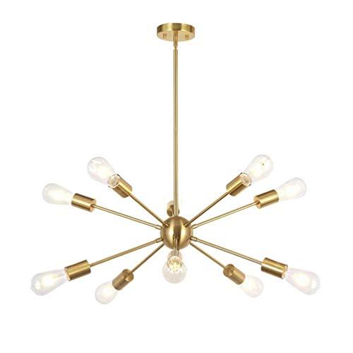 NZDY Lámpara de araña, 10 unidades, de latón cepillado ligero, lámpara de techo moderna, dorada industrial, vintage, para salón, dormitorio, restaurante