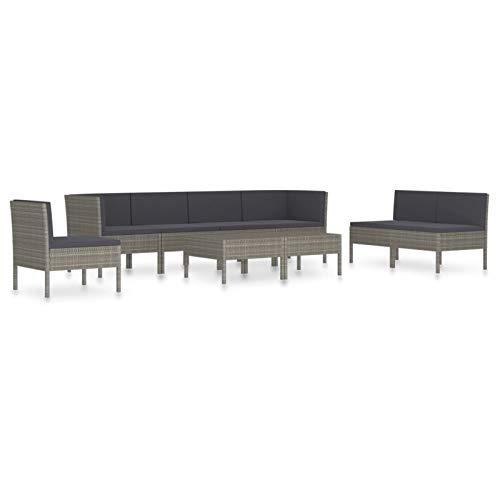 Tidyard Conjuntos Sofa Exterior Set de Muebles de jardín 9 pzas y Cojines ratán sintético Gris