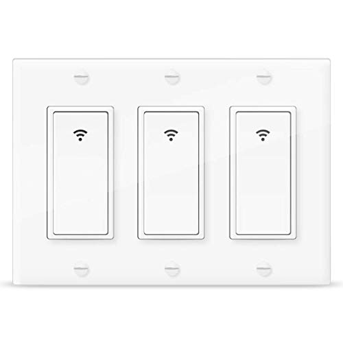 Vaticas 1 100-240V Smart WiFi Light Switch,Compatible with Alexa,Google Home and IFTTT, with Remote Control and Timer,No Hub Required Applicable to Family and Office(3 Gang White)