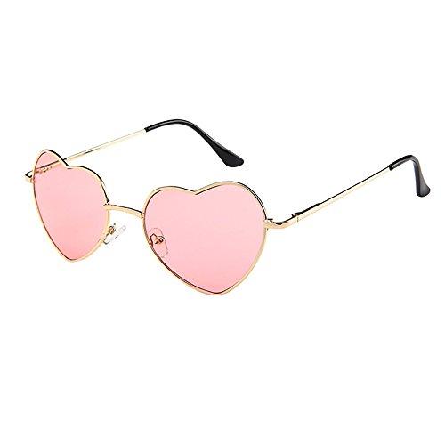 riou Gafas de Sol Mujer Moda Polarizadas Protección UV Gafas Hippie Gafas de Sol en Forma de Corazón Redondas Retro Gafas para Los Accesorios De Disfraces, Marco Dorado Rosa
