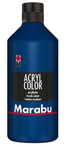 Marabu 12010075053 - Acryl Color dunkelblau 500 ml, cremige Acrylfarbe auf Wasserbasis, schnell trocknend, lichtecht, wasserfest, zum Auftragen mit Pinsel und Schwamm auf Leinwand, Papier und Holz