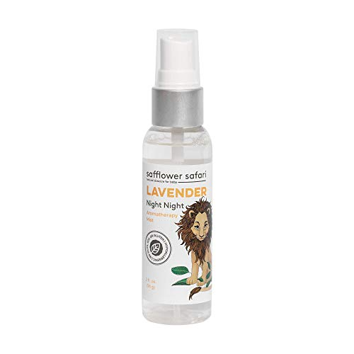 Baby Night Night Lavender Aromatherapy Mist   Calm, Relax, Unwind   All-Natural Sleep Spray for Linens & Pillows Made With Pure Lavender Essential Oil, Made in USA by Safflower Safari (2oz)