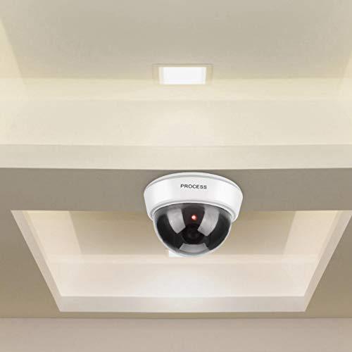 Cámara simulada, Sensor de luz, simulada Falsa Seguridad Falsa Domo Blanco con Intermitente Adecuado para Seguridad Familiar vigilancia escuelas Lugares públicos