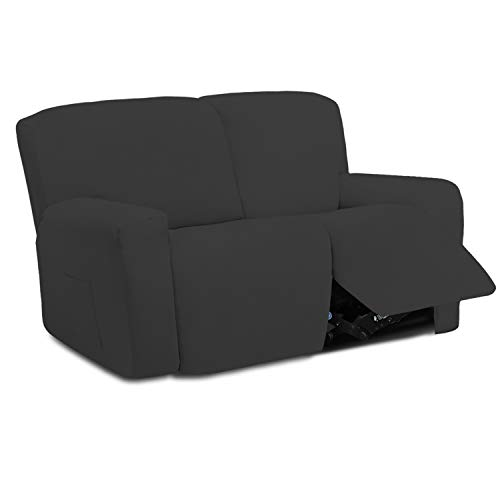 Easy-Going 6 Pieces Microfiber Stretch Sectional Recliner Sofa Slipcover Soft Fitted Fleece 2 Seats Couch Cover, Washable Furniture Protector with Elasticity for Kids(Recliner Loveseat, Dark Gray
