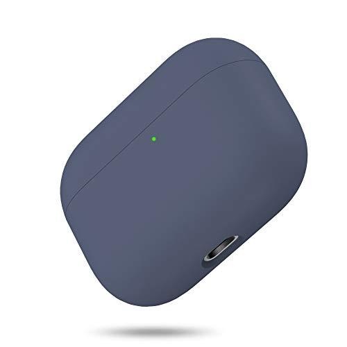Miracase Cover per Airpods Pro, Triplo Strato Protettivo in Silicone Liquido Custodia per AirPods Pro LED visibile Antiurto (Blu scuro)