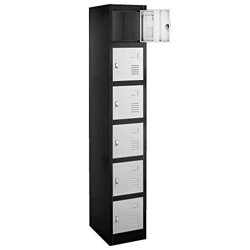 Fedmax Locker Storage Cabinet - 6 Metal Wall Lockers for School, Gym, Home, Office Employee Lock Box, 71 Inches High - Black/Grey