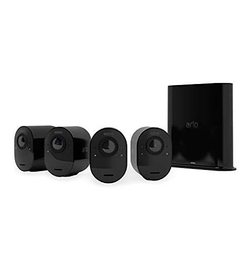 Arlo Ultra 2 Spotlight, Sistema di Videosorveglianza WiFi con 4 telecamere 4K + base, Faro e Sirena integrati, Sensori movimento, Audio 2 vie, Visione 180° Diurna Notturna, Interno e Esterno, Nero