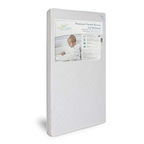 Kinder Valley Deluxe Pocket Sprung Cot Mattress 120cm x 60cm with Removable, Washable Cover   British Made with Individual Pocketed Springs   10cm Thickness for Supreme Comfort