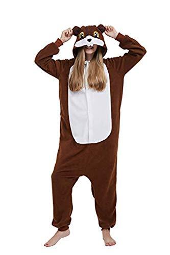 Fandecie Erwachsene Tier Kostüm Tierkostüm Tier Schlafanzug Eichhörnchen Braun Pyjamas Jumpsuit Damen Herren Cosplay für Tier Fasching Karneval Halloween, M