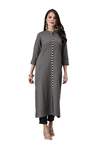 Kurtas para mujer recta línea A étnica Kurta Top túnica vestido de fiesta para mujer - gris - XL