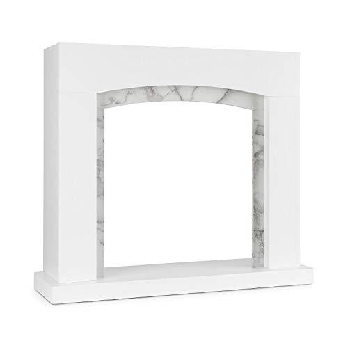 KLARSTEIN Studio Frame II Marco de Chimenea – Chimenea Decorativa, diseño Moderno, MDF, decoración en mármol, se Ajusta Muchos Tipos de chimeneas de etanol, atornillado a la Pared, Blanco