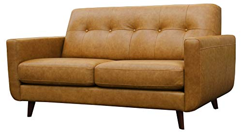 Amazon Brand – Rivet Sloane Mid-Century Modern Leather Loveseat Sofa