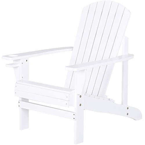 Outsunny Outdoor Classic Wooden Adirondack Deck Lounge Chair with Ergonomic Design & a Built-in Cup Holder, White