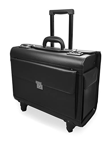 Roamlite Pilot Case with 4 Wheels, Hand Luggage Size Wheeled Travel Briefcase for Business with Dual Combination Locks in PU Faux Leather Look – for Men and Women - Black RLPC9144K