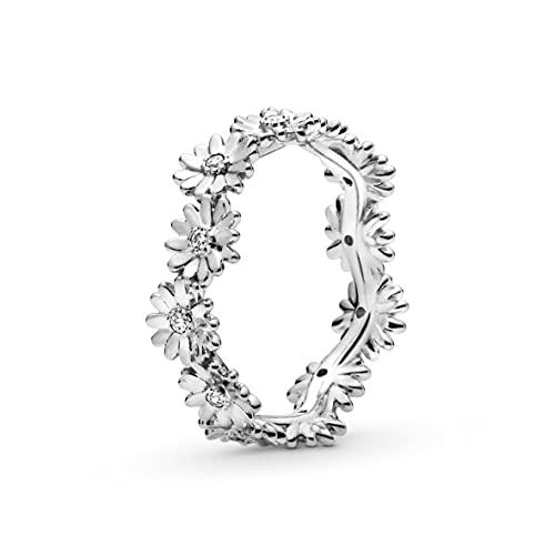 Pandora Anillo de plata para mujer con corona de margaritas brillante 198799C01-58, tamaño 58/18,5