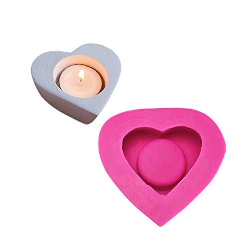LBERDAN Handmade Candle Mold, Candlestick Cement Concrete Silicone Mould, Heart-Shaped Aromatherapy Plaster Ornaments Drop Glue, DIY Handmade Candlestick Holder, Desktop Decoration, Pink