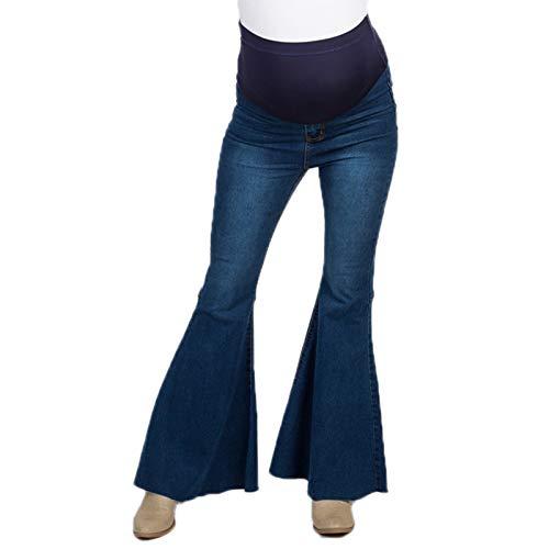 huateng A Vita Alta Slim maternità Pantaloni a Zampa d'elefante in Denim Pantaloni Gravidanza Jeans Premaman per Donne Incinte