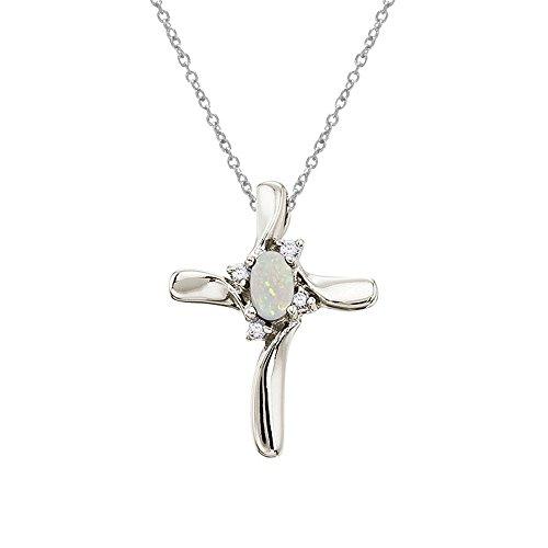 14 K oro blanco ópalo y diamante de colgante en forma de cruz