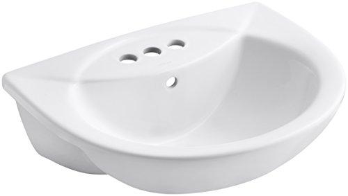 KOHLER K-11160-4-0 Odeon - Fregadero de centro de 4 cm, semirrecedora, color blanco