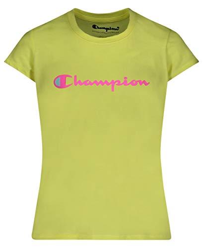 Champion Girls Heritage Short Sleeve Script Logo Tee Shirt Big and Little Girls (Medium, Honey Yellow Script)