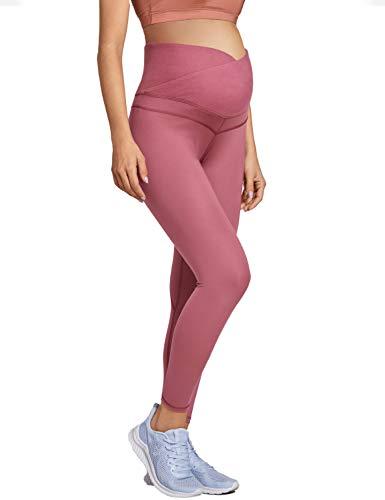 MOMANDA Damen Umstandsleggings Lange Schwangerschafts Sport Umstandshose Misty Merlot S