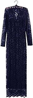 فستان للنساء ضيق بطول ماكسي كم طويل مع قبة V نسيج مخرم للسهرات وحفلات الزفاف - Gg0123 - اللون: نافي/ كحلي -القياس: Xxl