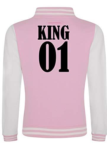 Shirtinstyle Damen College Jacke, Jacket Retro Style, mit Wunschnamen und Wunschnummer, Baseball Look, Partner, Familie, Freunde, Farbe, BABYPINKARCTICWHITE, Größe L