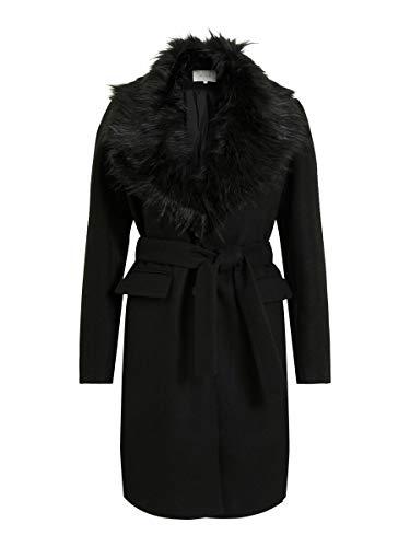 Vila Damen VIMATHILDA Jacket/L Mantel, Black/Detail:Black Faux FUR, 40