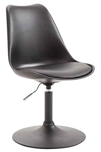 CLP Esszimmerstuhl Maverick Kunststoff I höhenverstellbarer Lehnstuhl I Drehstuhl mit Trompetenfuß I Sitzhöhe von ca. 43-48 cm, Farbe:schwarz, Gestell Farbe:Schwarz