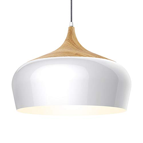 tomons Ceiling Lights, Modern Style Wood Pattern Pendant Light with 8W LED Lamp Bulb for Dining Room, Kitchen Island, Coffee Bar, Living Room, Study Room, White