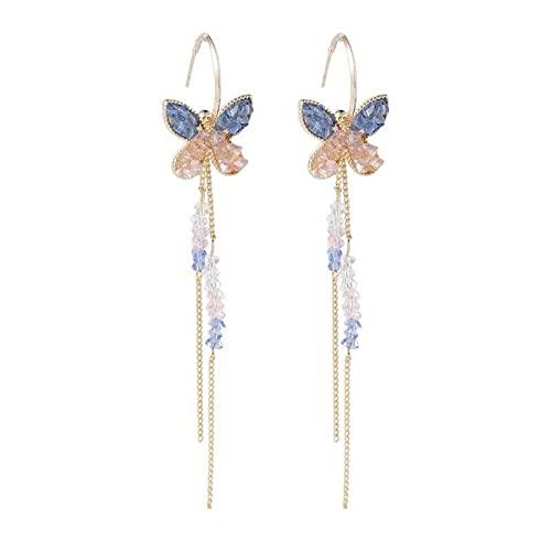S925 Aguja de plata Fritillaria Ojo de gato Flores azules Mariposa pequeña fresca Flores dulces Pendientes de oro para mujer Pendientes