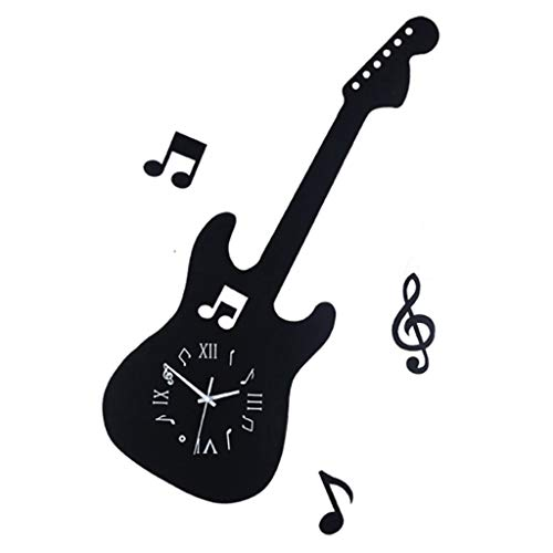Hängende Uhr HM 20 Zoll Schwarze Gitarre Schmuck Wohnzimmer Hause Quarzuhr Wanduhr Precision