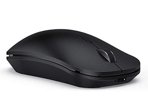 seenda Bluetooth Maus, Wiederaufladbare Maus kabellos, 3 Modus (Bluetooth4.0 + USB A + USB C) 2.4G Wireless Maus, Funkmaus Kabellose Maus für/Mac/Windows/PC/Laptop/Tablet/Android/iPadOS, Schwarz
