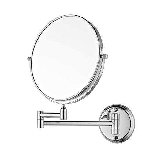 Makeup Mirror Cosmetic Vanity Mirror Bathroom Mirror Bathroom Folding 8 Inch Double Metal Circular Creative Mirror 3 Times Magnification LED vanity mirror lights