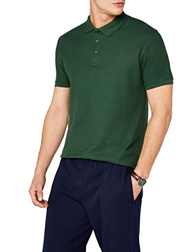 Fruit of the Loom SS035M, Polo Uomo, Verde (Bottle Green), X-Large