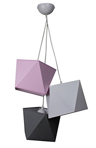 Hanglamp mooie hanglamp diamant L3 metaal vele kleuren Lampenschirm: Rosa-Grau-Schwarz