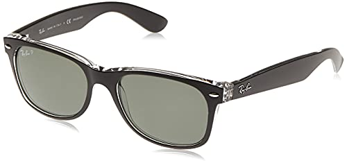 Ray-Ban RB2132 New Wayfarer Sunglasses, Black/Polarized Green, 55 mm
